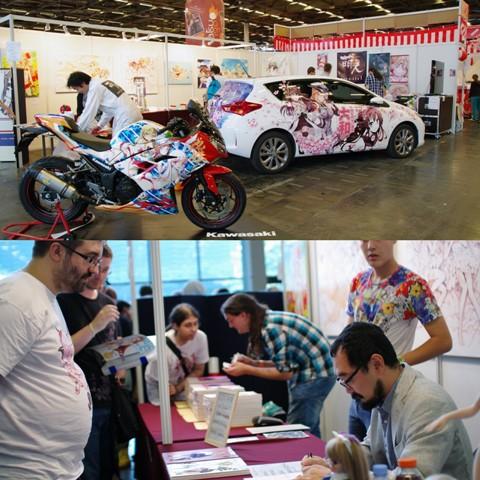 ↑moe-n-chu様ブース痛車・バイクの展示&漫画家大槍葦人先生のサイン会